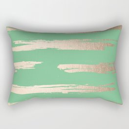 Abstract Paint Stripes Gold Tropical Green Rectangular Pillow