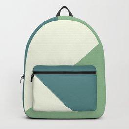 Green Blue Cream Abstract Geometric Art Backpack