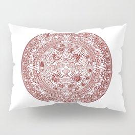 Aztec Calendar // Maroon Pillow Sham