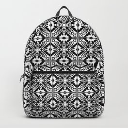 Moroccan Tile Pattern in Black and White Backpack