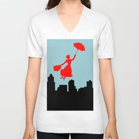 mary poppins V-neck T-shirts featuring Mary Poppins  by Sammycrafts