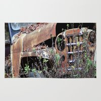 jeep Area & Throw Rugs featuring Vintage Jeep by Victoria Rushie