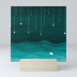 Falling stars, sailboat, teal, ocean Mini Art Print