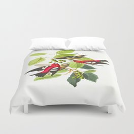 White-winged Crossbill Bird Duvet Cover