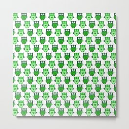 Whimsical Green Owls With Hearts Metal Print