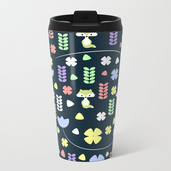 Cute foxes, flowers and more Metal Travel Mug
