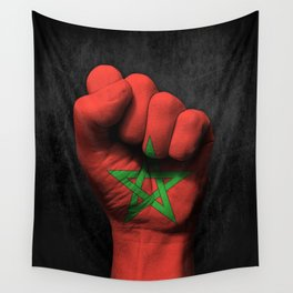 Moroccan Flag on a Raised Clenched Fist Wall Tapestry
