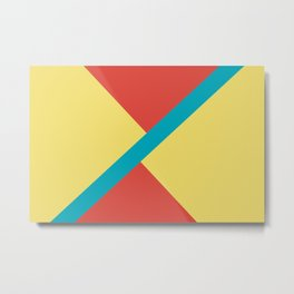 Blue-Green Yellow Red Diagonal Shape Pattern 2021 Color of the Year AI Aqua 098-59-30 Metal Print