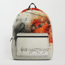 Watercolor Violin (Color) Backpack