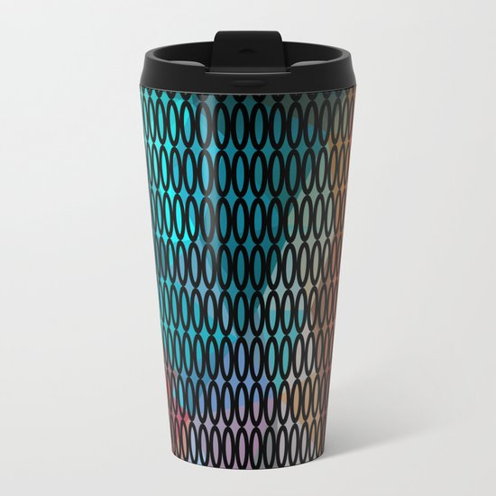 Abstract background of triangles polygon print. Bright dark design colors Travel Mug