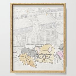 French Bulldogs Breakfast with Paris Rooftops View Serving Tray