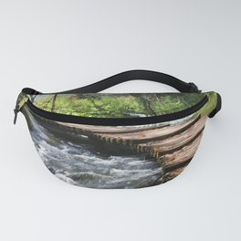 Stream With Wooden Bridge In Mountain Forest Fanny Pack