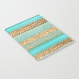 Turquoise Brown Faux Gold Glitter Stripes Pattern Notebook