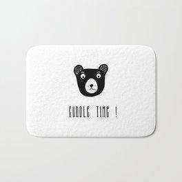 Cuddle time bear black and white illustration Bath Mat