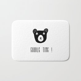 Cuddle time bear black and white illustration Bath Mat