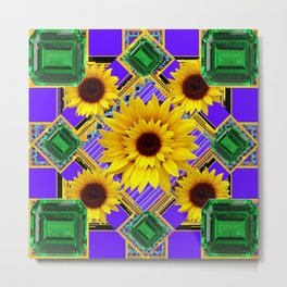 GREEN EMERALDS YELLOW SUNFLOWERS ART Metal Print