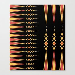 Vintage Tribal Pattern with Art Deco Feel in Orange, Yellow and Black Canvas Print