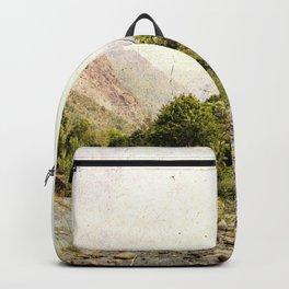 Vintage landscape mountains and river Backpack
