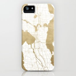 Seattle White and Gold Map iPhone Case