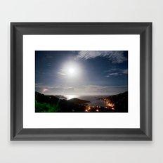 full moon and lightning Framed Art Print