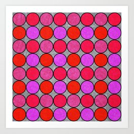 Polka Brights (pink/red) Art Print