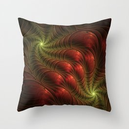 Fantasy Fractal, Coloful And Luminous Throw Pillow