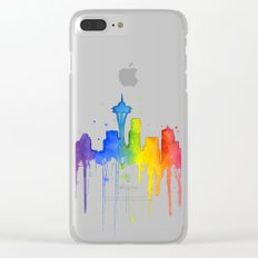 Seattle Skyline Rainbow Watercolor Clear iPhone Case