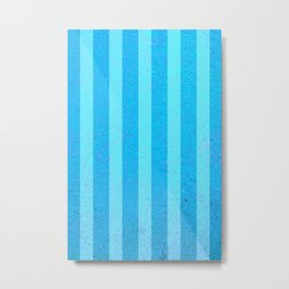 Textured Blue and Light Blue Striped Lined Metal Print
