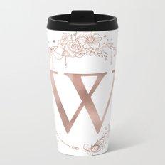 Letter W Rose Gold Pink Initial Monogram Metal Travel Mug