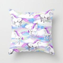 Unicorns and Rainbows Throw Pillow