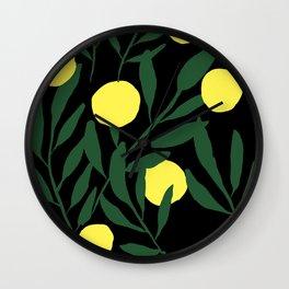Pastel Lemons / Green and Yellow Refreshing Lemon Print / Abstract Lemon Vibes / Summer Lemons Wall Clock