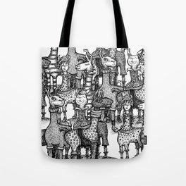 A Crowd of Llamas in Pajamas by dotsofpaint Tote Bag