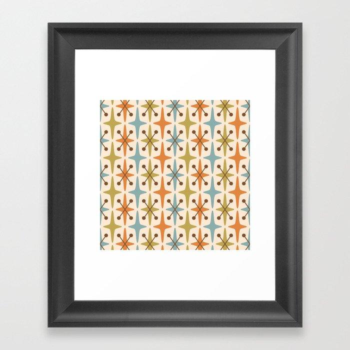 Mid Century Modern Abstract Star Pattern 441 Orange Brown Blue Olive Gerahmter Kunstdruck