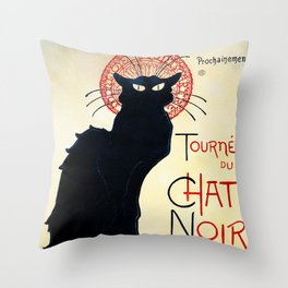 Vintage french poster - Tournée du chat noir - Steinlen Throw Pillow