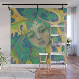 Forest Spirit, Dryad, Tree Goddess, Surreal Fantasy Imaginary Portrait Wall Mural
