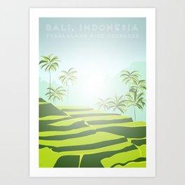 Tegalalang Rice Terraces, Bali, Indonesia Travel Poster Art Print