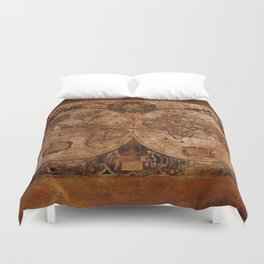 Vintage Olde Worlde Map 1620 Duvet Cover