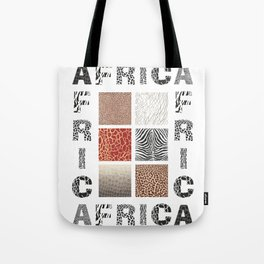 Africa - background with text and texture wild animal Tote Bag