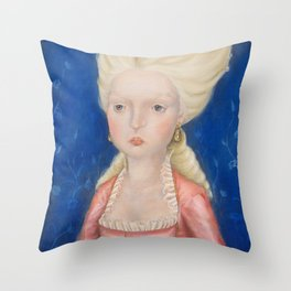 Lady in a Pink Dress Throw Pillow