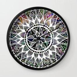 White Ink Triple Mandala Wall Clock