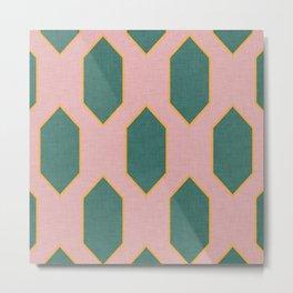 Mid century Diamond pattern Pink Metal Print