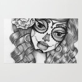 JennyMannoArt Graphite Illustration/Dias de los Muertos Rug