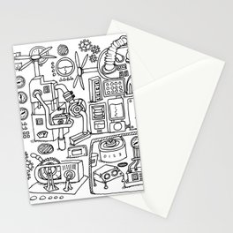 Machine room, coloring page, illustration, steampunk, black and white Stationery Cards
