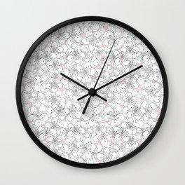 Cherry Blossom Pink Blocks Wall Clock