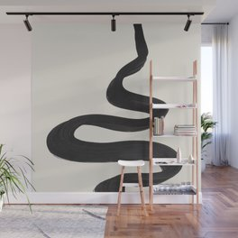 Minimalist Abstract Art Smoke Genie In The Lamp Mythical Magical Ink Art Black & White Wall Mural
