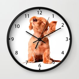 Young Puppy Listening to Music on Headphones Wall Clock