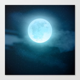 Realistic full moon on night sky with clouds Canvas Print