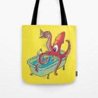 kraken Tote Bags featuring kraken by Caramela