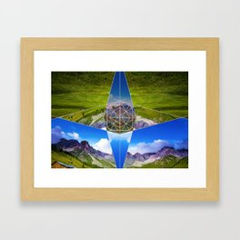Modern Geometry With Grass Framed Art Print