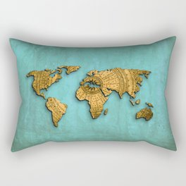 Vintage World Map on Jade Dragon Teal Rectangular Pillow